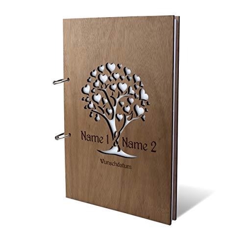 Hochzeit Gästebuch Okoume Holz Gravur individuell Holzcover mit 144 Naturpapier Innenseiten DIN A4 hoch 215 x 302 mm - Herzbaum