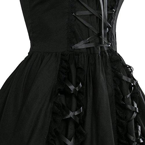 Nofonda Vestido Negro Gótico Clásico de Chicas Disfraz de Bruja Vampiro Falda Lolita Dulce Steampunk para Mujer Traje Tradicional para Fiestas (XXL)