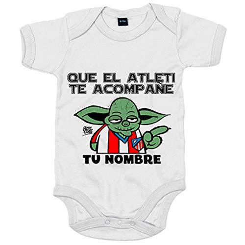 Body bebé Atlético de Madrid Que el Atleti te acompañe parodia de Star Wars personalizable con...