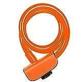 JINGGL candado Bicicleta Bloqueo de Bicicletas 110cm Anti Robo de Seguridad Accesorios de Bicicleta con 2 Llaves Cable Lock Road Bike Motocicleta Ciclismo Bloqueo (Color : Orange)