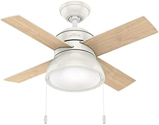 Hunter Indoor Ceiling Fan with LED Light and pull chain control - Loki 36 inch, White, 59385
