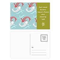 カープの波は、日本のトーテム 詩のポストカードセットサンクスカード郵送側20個