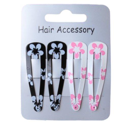 Set of 4 Black and White Flower Print Hair Clips Snap Bendies Sleepies 5cm (2) by Pritties Accessories
