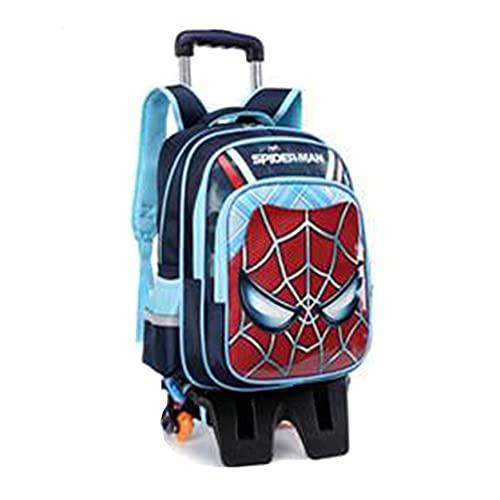 XNheadPS Zaino Scuola Trolley Studenti Avengers con Mano Rimovibile con Ruote Ragazzi Ragazze Zaino Impermeabile con 6 Ruote Bagaglio in Nylon Grande capacità,Tall Feet -Six Wheel