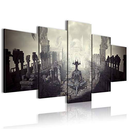 Lienzo impreso en la pared HD 5 paneles Dark Soul Humano Finn Ice King atmósfera tienda 100 x 50 cm enmarcado
