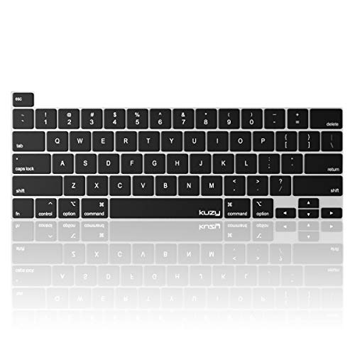 Kuzy Compatible with MacBook Pro 13 inch Keyboard Cover 2020 A2338 M1 A2289 - Skin for MacBook Pro 16 inch Keyboard Cover 2019 A2141 Silicone Key Board, Black