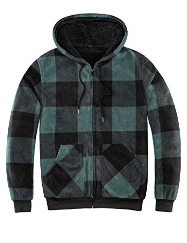 ZENTHACE Men's Thicken Sherpa Lined Checkered Flannel Hoodie Shirt Jacket Green S