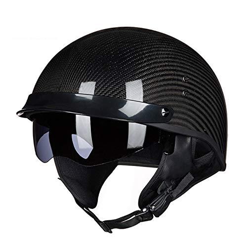 Adult Retro Motorcycle Harley Helmet Carbon Fiber Lightweight Best Personality Cool Locomotive Half Covered Light Half Helmet Modular Sun Visor Open Surface Motorcycle Bicycle Scooter Black Helmet,1,X