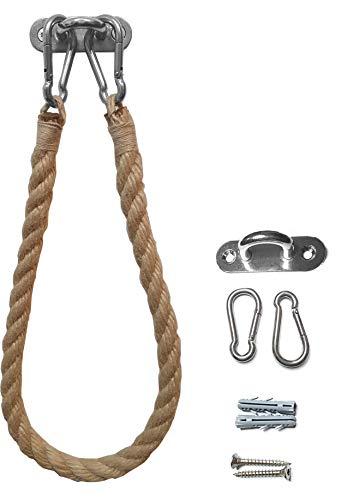WOWGADGET Toilettenpapierhalter, Handtuchhalter, hochwertigem Segel-Tauwerk/Seil mit Halterung und Karabinerhaken aus Edelstahl, inkl. Befestigungsmaterial, Klopapierhalter (Hanf/beige)