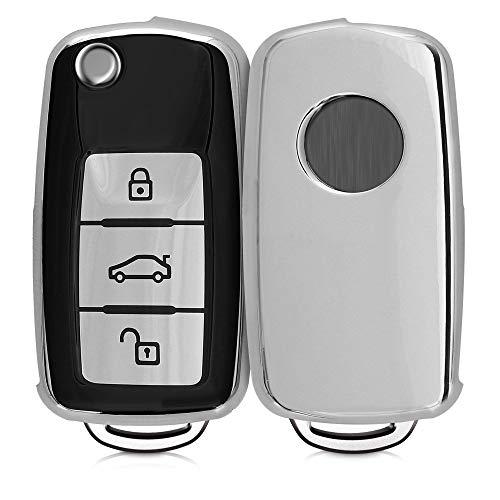 kwmobile Autoschlüssel Hülle kompatibel mit VW Skoda Seat 3-Tasten Autoschlüssel - TPU Schutzhülle Schlüsselhülle Cover in Schwarz Hochglanz Silber