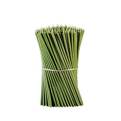 Danilovo Ritual Bienenwachs Kerzen (Grün) - Orthodoxe Kerzen für Gebet Tischdeko Hochzeit - Ungiftig, Ruß - Tropffrei, Lang, Nachhaltige Produkte, N30, Höhe: 29,5 cm, Ø 8,5 mm (25 stück - 334 g)