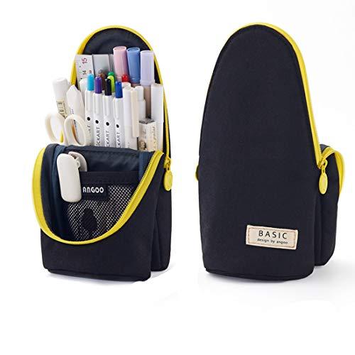 Oyachic Plumier Estuche Escolar Delde Pencil Case Stand Up Pencil Holder Bolsa para Lapices Pen Bag Estudiante Plumier Colegio Kawaii Box para Estudiante (Negro)