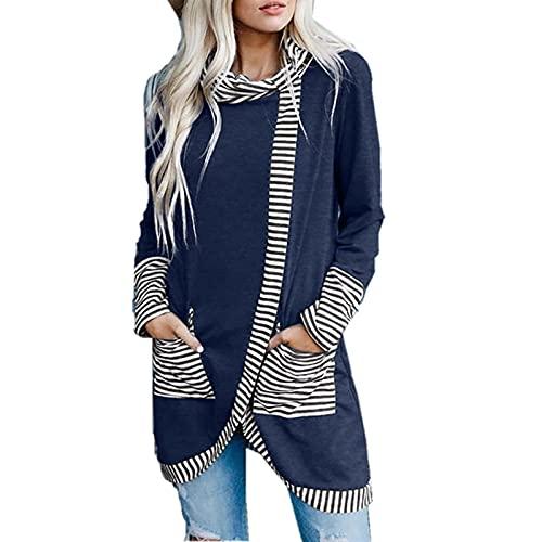 Blusa suelta de manga larga con cuello redondo y bolsillo para mujer, azul marino, XXL
