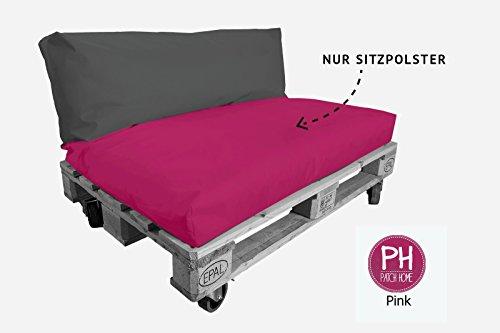 Patchhome palletkussens - palletbekleding zitvlak voor binnen en buiten - afmetingen: 120 x 80 x 20 cm, 25 verschillende Kleuren en 7 maten naar keuze. 120x80x20cm roze