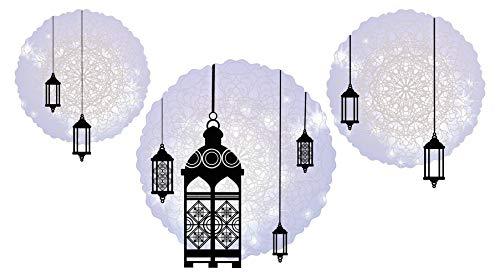 Wandtattoo Orient Wandsticker Orientalische Lampen in schwarz auf einem zarten