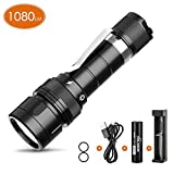 VOLADOR DF10 Dive Light, 1080Lumens Scuba Diving Flashlight, Rechargeable Underwater Flashlight Submarine Torch Light with 18650 Battery and Charger