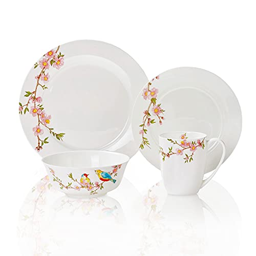 Chulan Floral Dinnerware Sets, Bone China Dinnerware Sets Serving for...