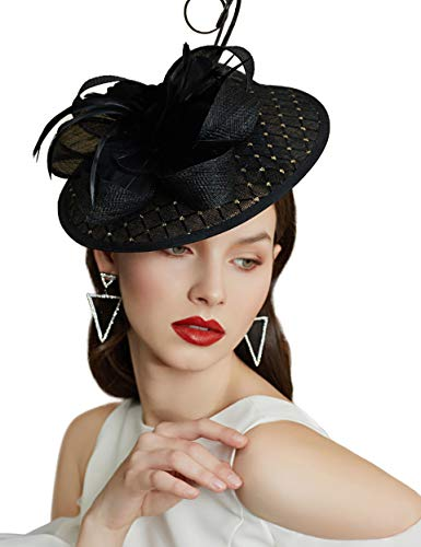Coucoland Feder Fascinators hoed dames bloemen mesh elegante bruiloft fascinator haarband cocktail thee party accessoires