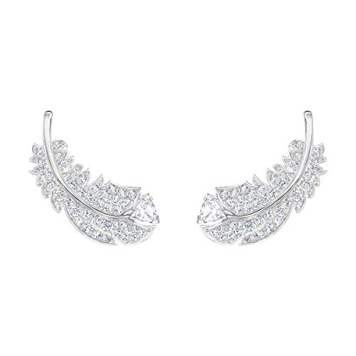 Swarovski Women's Nice Stud Pierced Earrings, Set of Brilliant White Swarovski Crystal Feather Earrings with Rhodium Plating