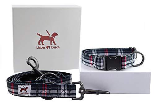 Liebes-Flausch Hundeleine + Hundehalsband im Set | Elegant - Verstellbar - Trendy … (28-40cm)