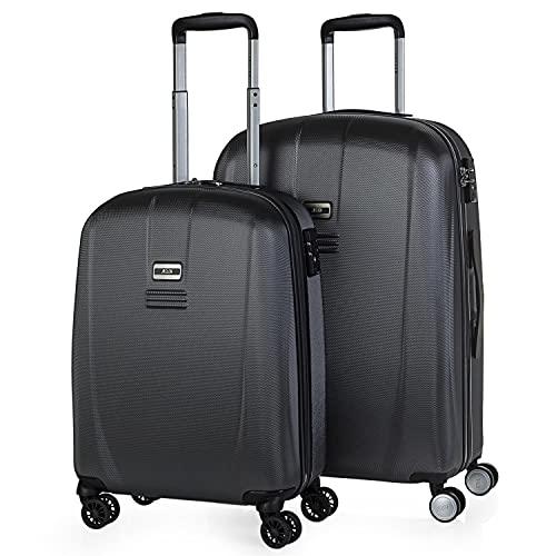 JASLEN - Set 2 valigie trolley 50/60 cm ABS. Rigida, resistente e leggera. Maniglia telescopica, 4 ruote doppie. Lucchetto integrato TSA. Piccolo low cost 56515, Color Antracite