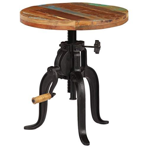 vidaXL Mesita Auxiliar Mesilla Mesa Mueble Mobiliario Aparador Soporte Hogar Casa Salón 45x(45-62) cm Madera Reciclada Hierro Fundido