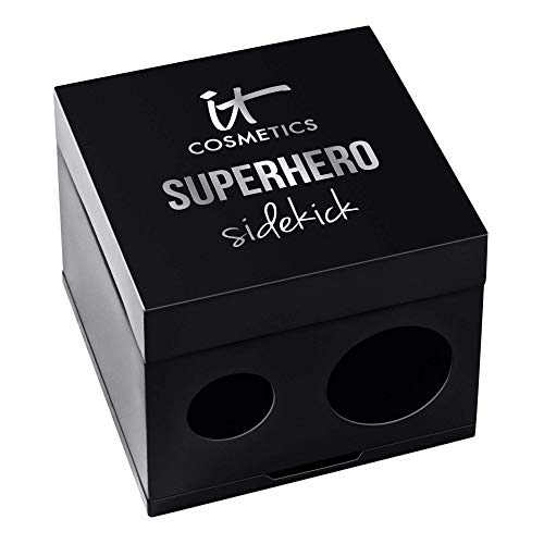 IT Cosmetics Superhero Sidekick Pencil Sharpener - 2-in-1 Sharpener with Built-in Removal Tool - Use with Thick or Thin Eyeliner & Lip Pencils - For the Most Precise Makeup Application