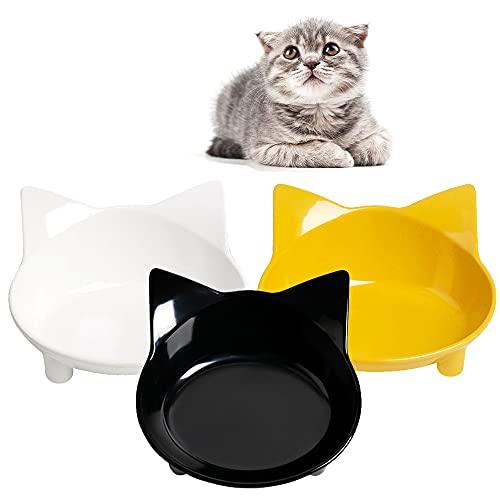 Skrtuan Katzennäpfe,3 Stück Futternapf Katze,Futternapf Katze Set,rutschfeste Katzenschale,Futterschüssel Katze,Wasser Fütterung Schüssel,Fressnapf Katze zur Erleichterung von Whisker-Müdigkeit