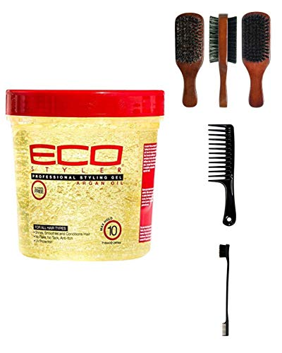Price comparison product image Eco Style Styling Gel,  Argan Oil,  24 Ounce (Including Double Sided Edge Control Hair Brush,  Detangling Wide Tooth Comb Set & 100% Boar 2-Sided Club Brush) Eco Styler Hair Gel Kit