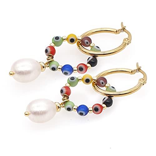 Pendiente de pendiente Mujer Boho Jewelry Hoop de acero inoxidable Pendientes de perla natural Pendientes hechos a mano por YESYI SHMGO