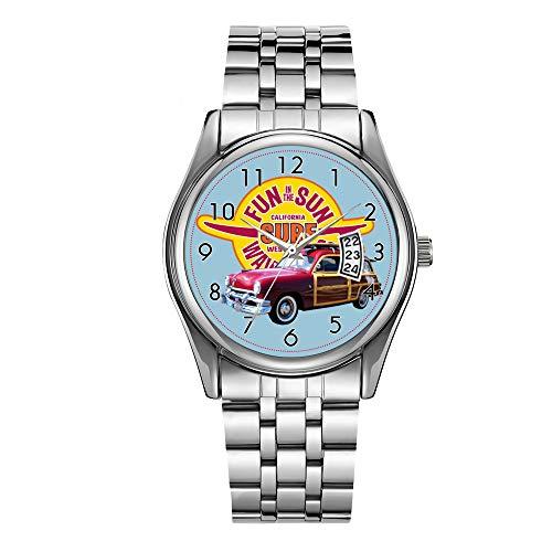 Montre de luxe pour homme étanche jusqu'à 30 m avec date et horloge de sport pour homme, montre à quartz décontractée, montre classique américaine de surf et de voiture