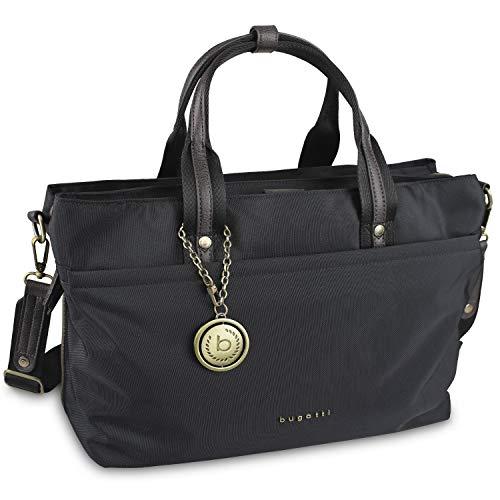 """Bugatti Contratempo Aktentasche Damen Handtasche aus Nylon mit 15"""" Laptopfach und RFID Fach – Businesstasche Damen Laptoptasche – Bürotasche in Schwarz"""