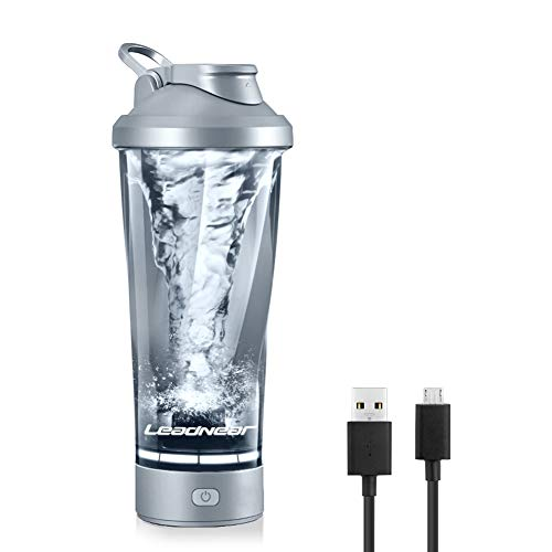 Leadnear Electric Protein Shaker Bottle 24oz Electric Vortex Mixer Cup USB Rechargeable BPA Free Portable Workout Bottle for Protein Shakes or Variety of Drinks (Gray)
