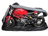 Premium Motorrad Abdeckung Cover für Sommer & Winter | Abdeckplane in 600D Oxford für Indoor & Outdoor | sehr stabil & reißfest | von M bis XXL | Extra Soft Vlies innen M