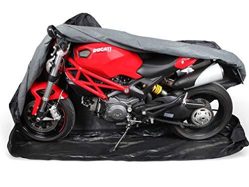 Premium Motorrad Abdeckung Cover für Sommer & Winter | Abdeckplane in 600D Oxford für Indoor & Outdoor | sehr stabil & reißfest | von M bis XXL | Extra Soft Vlies innen XL