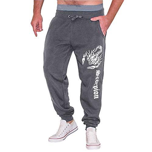 KPILP Männer Casual Mode Herbst Übergröße Winter Baumwolldruck Hip Hop Sporthose Jogger Pluderhosen(Schwarz, XL