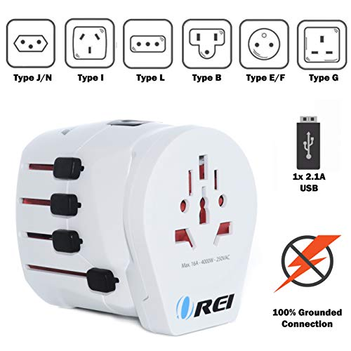 Safest World Travel Adapter Grounded by Orei 3 Prong Plug for Laptop, Chargers, USB...