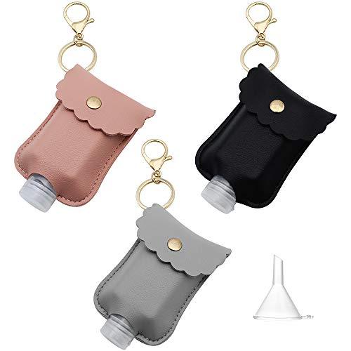 NewZC 3 Stück Tragbare Quetschflasche mit Schlüsselbund 2 Unzen Plastikhand Desinfektionsmittel Flaschen Nachfüllbarer Reisebehälter für Seifenlotion