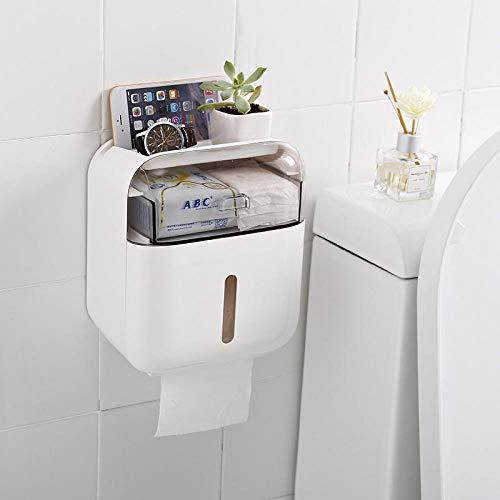 Soporte de Papel higiénico Baño Bebé Scarin Caja para Papel higiénico Caja de Almacenamiento Servilleta montada en la Pared Organizador Impermeable Blanco