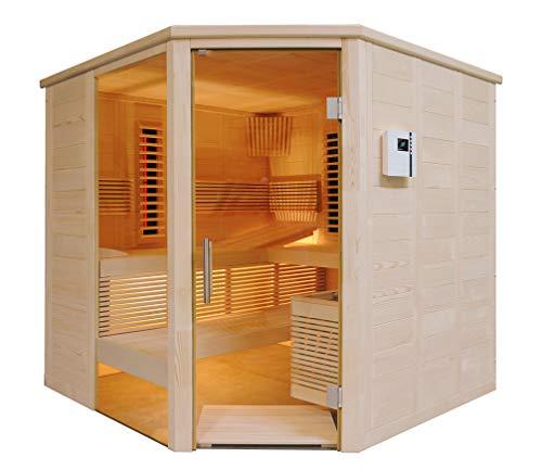 SAUNELLA Sauna + Infrarotkabine | Infrarotsauna Bausatz Heimsauna Maße: 206 x 206 x 204 cm | Saunaofen Komplett Sauna Zubehör Ecksauna Eckeinstieg Massivholz | ext. Steuerung 3,4 kW