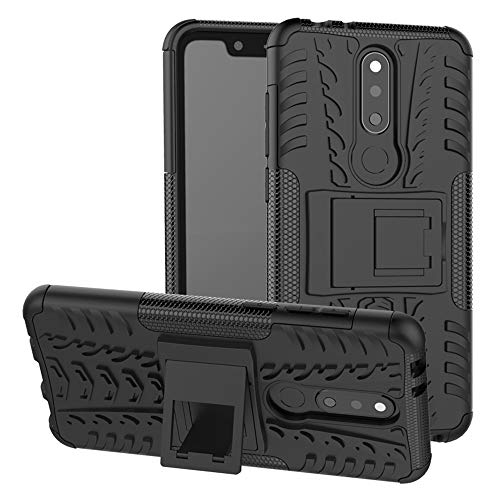 LFDZ Nokia 5.1 Plus 2018 Tasche, Hülle Abdeckung Cover schutzhülle Tough Strong Rugged Shock Proof Heavy Duty Hülle Für Nokia 5.1 Plus 2018 / Nokia X5 Smartphone (mit 4in1 Geschenk verpackt),Schwarz