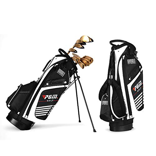 QJXB 14-Wege wasserfest Golftasche Golf Stand Tragetasche Robuste wasserdichte Nylon-Golf Stand-Taschen mit Rucksack-Tragesystem y automatischen Klappfüssen,White-42 * 28 * 90cm