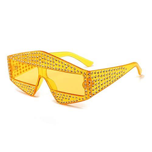 NOBRAND Gafas De Sol Gafas Cuadradas Hechas por El Hombre De Cristal Gruesos Vidrios del Capítulo para Decorar tu Propio diseño (Color : Yellow)
