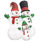 vidaXL Familia Muñecos Nieve Decoración Navidad Inflable Luminoso LED Fiestas...