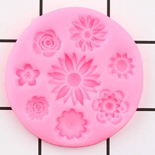 GEYKY Blumensilikonformen Gänseblümchen Rose Mohn TopperForm DIY Hochzeitstorte Dekorationswerkzeuge Praline Schimmelpilz Formen