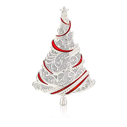 RareLove Vintage Red with Silver Christmas Tree Xmas Pins and Brooches Silver Plated Alloy Holiday Jewelry for Women Girls