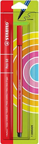 Caneta Hidrográfica 1.0 mm, Blister, Stabilo, pt. 68 120.2303, Vermelho Escuro