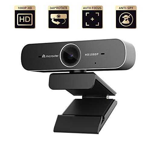 microuter 1080P USB Webcam, Full HD 1080P Video Recording, H.264 Video Encoding, Auto Focus,Dual Digital Noise-Reduction Microphone