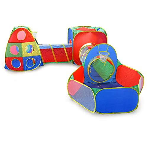 Ball Pit Tunnels and Play Tent for Toddlers, Baby Indoor Playground for Kids, Boys and Girls (Balls Not Included) (5-Piece)