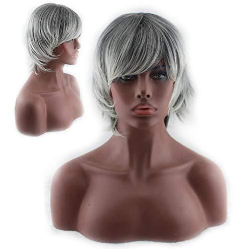 Perruque pour femme, cheveux courts gris argentés pour femmes, perruque synthétique naturellement réaliste et duveteuse pour robes de soirée et soirées